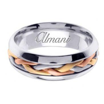 18K Gold 7mm Handmade Tri-Color Wedding Ring 101 Almani
