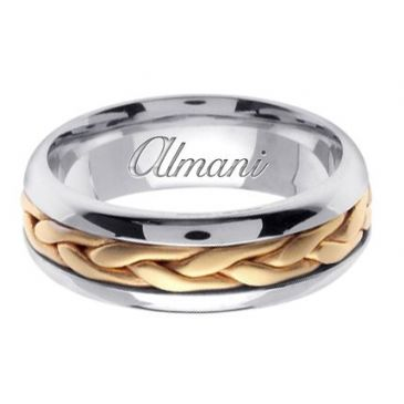 18K Gold 7mm Handmade Two Tone Wedding Ring 103 Almani