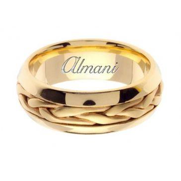 18K Gold 7mm Handmade Wedding Ring 104 Almani
