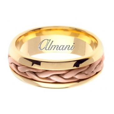 18K Gold 7mm Handmade Two Tone Wedding Ring 105 Almani
