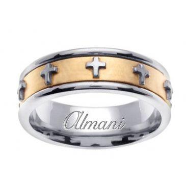 18K Gold 7mm Handmade Two Tone Wedding Ring 106 Almani