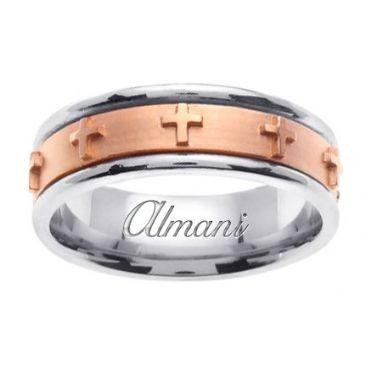 18K Gold 7mm Handmade Two Tone Wedding Ring 107 Almani