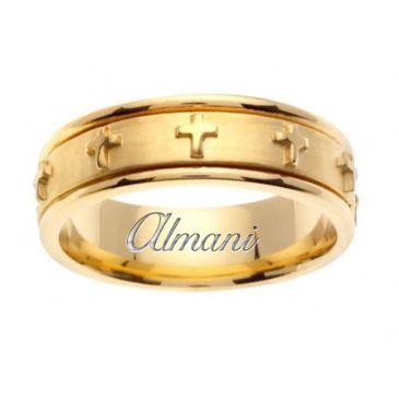 18K Gold 7mm Handmade Wedding Ring 108 Almani