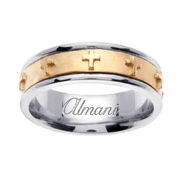 14k Gold 7mm Handmade Two Tone Wedding Ring 109 Almani
