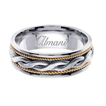 950 Platinum & 18K Gold 7mm Handmade Two Tone Wedding Ring 116 Almani