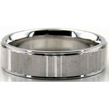 Platinum 950 6mm Diamond Cut Wedding Band 672