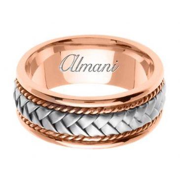 14k Gold 8.5mm Handmade Two Tone Wedding Ring 041 Almani