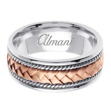 14k Gold 8.5mm Handmade Two Tone Wedding Ring 043 Almani
