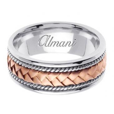 18K Gold 8.5mm Handmade Two Tone Wedding Ring 043 Almani