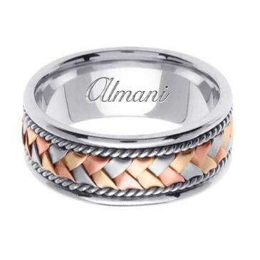 18K Gold 8.5mm Handmade Tri-Color Wedding Ring 044 Almani