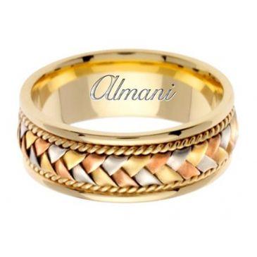 18K Gold 8.5mm Handmade Tri-Color Wedding Ring 045 Almani