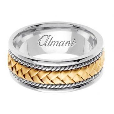 18K Gold 8.5mm Handmade Two-Tone Wedding Ring 046 Almani