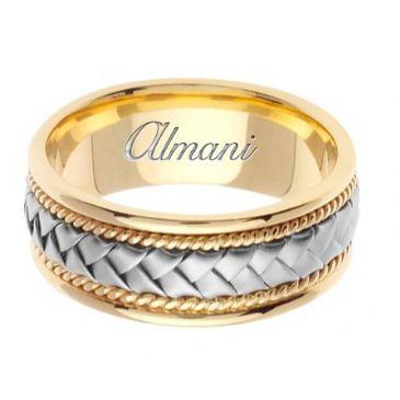 14k Gold 8.5mm Handmade Two Tone Wedding Ring 047 Almani