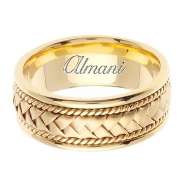 14K Gold 8.5mm Handmade Wedding Ring 048 Almani