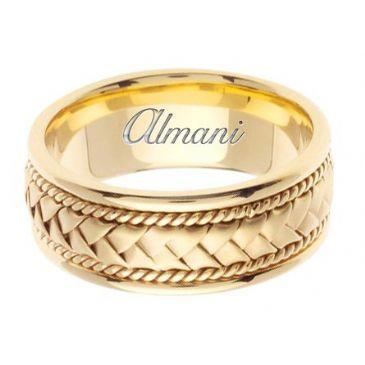 18K Gold 8.5mm Handmade Wedding Ring 048 Almani