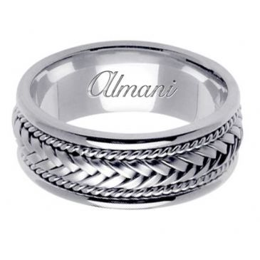 14K Gold 8mm Handmade Wedding Ring 051 Almani