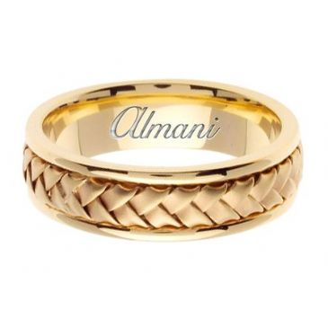 14K Gold 7mm Handmade Wedding Ring 056 Almani