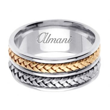 14k Gold 10mm Handmade Two Tone Wedding Ring 061 Almani