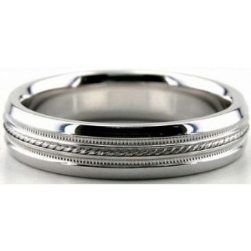 Platinum 950 5mm Diamond Cut Wedding Band 636