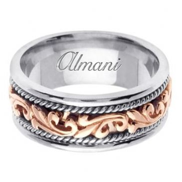 18K Gold 9mm Handmade Two Tone Wedding Ring 062 Almani