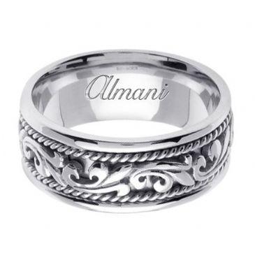 18K Gold 9mm Handmade Wedding Ring 063 Almani
