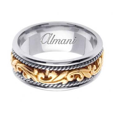 14k Gold 9mm Handmade Two Tone Wedding Ring 064 Almani