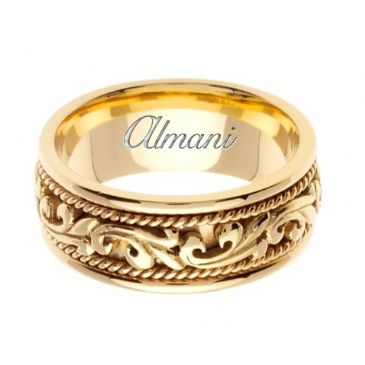 18K Gold 9mm Handmade Wedding Ring 065 Almani