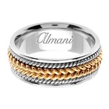 18K Gold 8mm Handmade Two Tone Wedding Ring 066 Almani