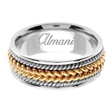 950 Platinum & 18K Gold 8mm Handmade Wedding Ring 066 Almani