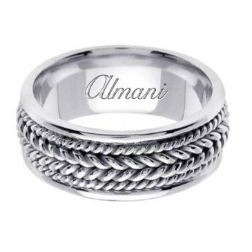 950 Platinum 8mm Handmade Wedding Ring 067 Almani