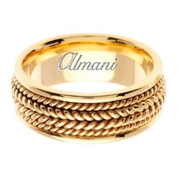 14K Gold 8mm Handmade Wedding Ring 068 Almani