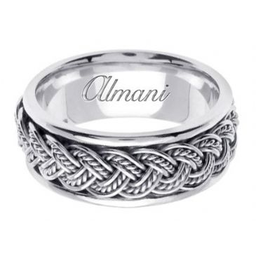 14K Gold 8mm Handmade Wedding Ring 071 Almani