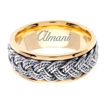 18K Gold 8mm Handmade Two Tone Wedding Ring 072 Almani