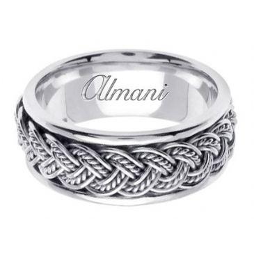 950 Platinum Gold 8mm Handmade Wedding Ring 072 Almani