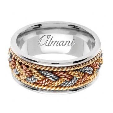 18K Gold 9mm Handmade Tri-Color Wedding Ring 075 Almani