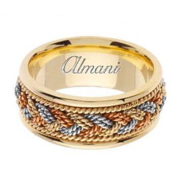 14k Gold 9mm Handmade Tri Color Wedding Ring 076 Almani