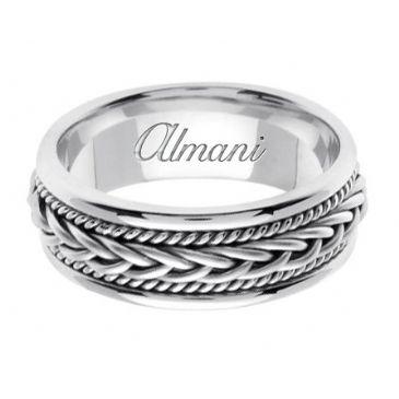 18K Gold 7mm Handmade Wedding Ring 089 Almani