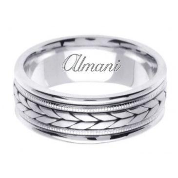 14K Gold 8mm Handmade Wedding Ring 096 Almani