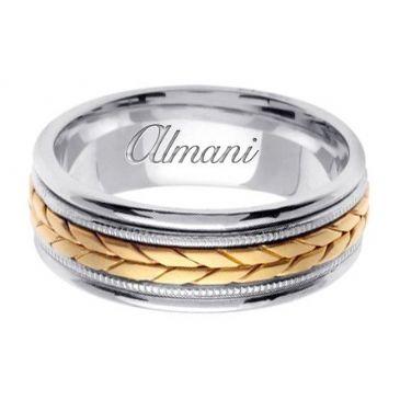 14k Gold 8mm Handmade Two Tone Wedding Ring 097 Almani