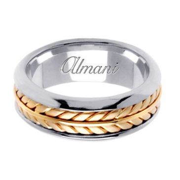 18K Gold 8mm Handmade Two Tone Wedding Ring 098 Almani