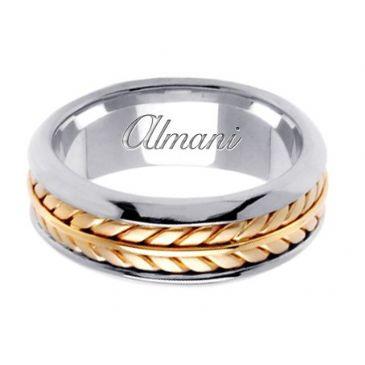 950 Platinum & 18K Gold 8mm Handmade Wedding Ring 098 Almani