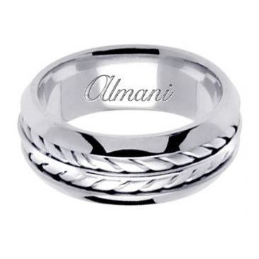 18K Gold 8mm Handmade Wedding Ring 099 Almani