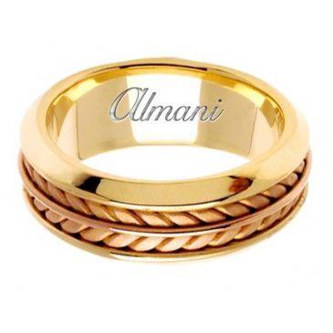 14k Gold 8mm Handmade Two Tone Wedding Ring 100 Almani