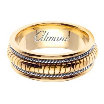 14k Gold 8mm Handmade Two Tone Wedding Ring 110 Almani