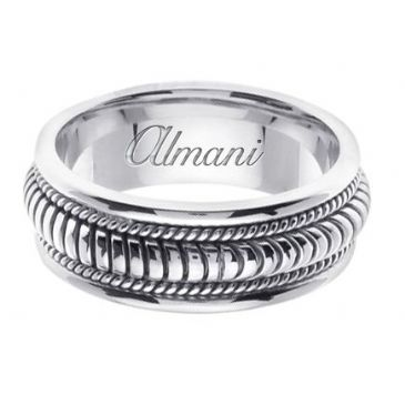 18K Gold 8mm Handmade Wedding Ring 111 Almani