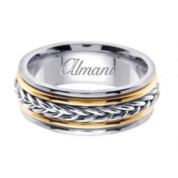 14k Gold 8mm Handmade Two Tone Wedding Ring 114 Almani