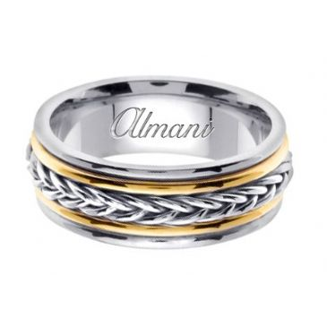 18K Gold 8mm Handmade Two Tone Wedding Ring 114 Almani
