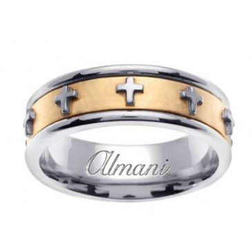 950 Platinum & 18K Gold 7mm Two Tone Wedding Ring 106 Almani