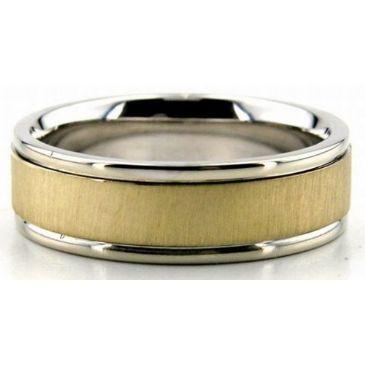 950 Platinum & 18K Gold 6.5mm Flat Wedding Bands Rings Comfort Fit 200
