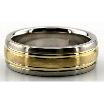 950 Platinum & 18K Gold 7mm Layered Wedding Bands Comfort Fit 203
